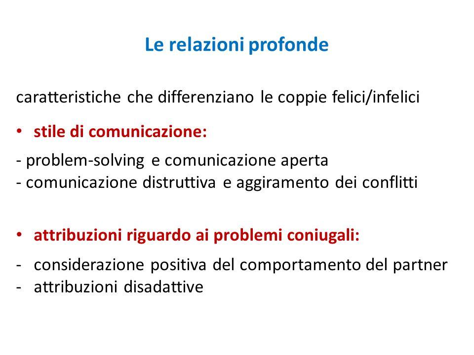 Le relazioni profonde caratteristiche che differenziano le coppie felici/infelici. stile di comunicazione: