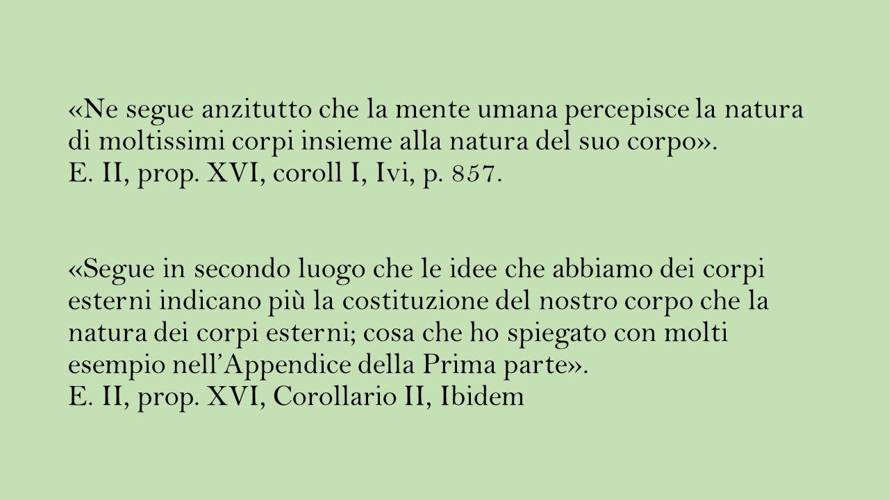 «Ne segue anzitutto che la mente umana percepisce la natura di moltissimi corpi insieme alla natura del suo corpo».