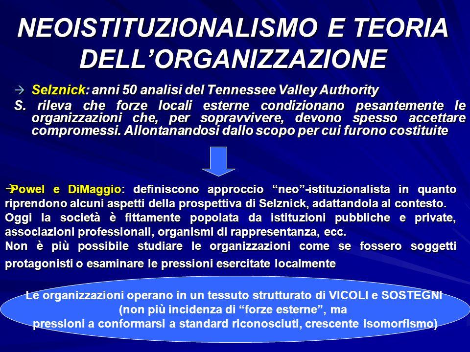 NEOISTITUZIONALISMO E TEORIA DELL'ORGANIZZAZIONE