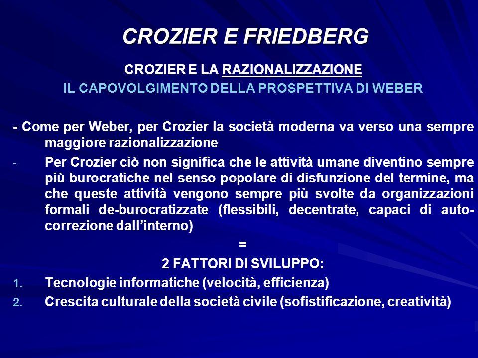 CROZIER E FRIEDBERG CROZIER E LA RAZIONALIZZAZIONE
