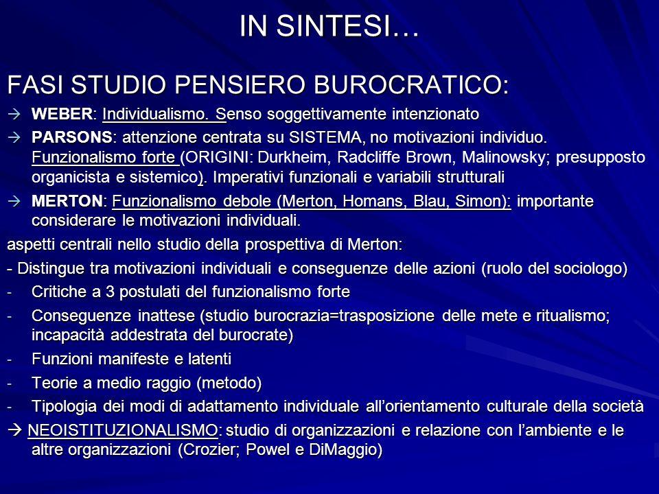 IN SINTESI… FASI STUDIO PENSIERO BUROCRATICO: