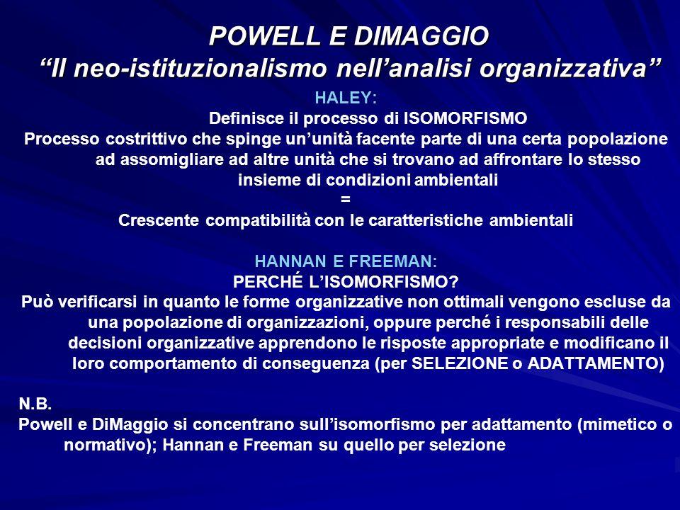 POWELL E DIMAGGIO Il neo-istituzionalismo nell'analisi organizzativa