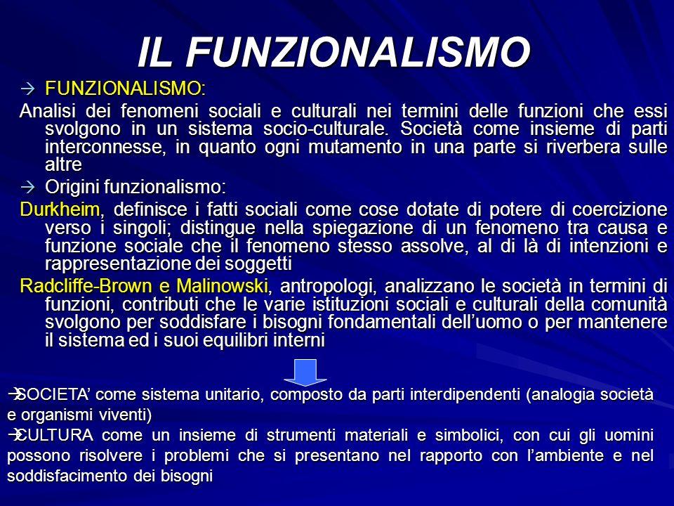 IL FUNZIONALISMO FUNZIONALISMO: