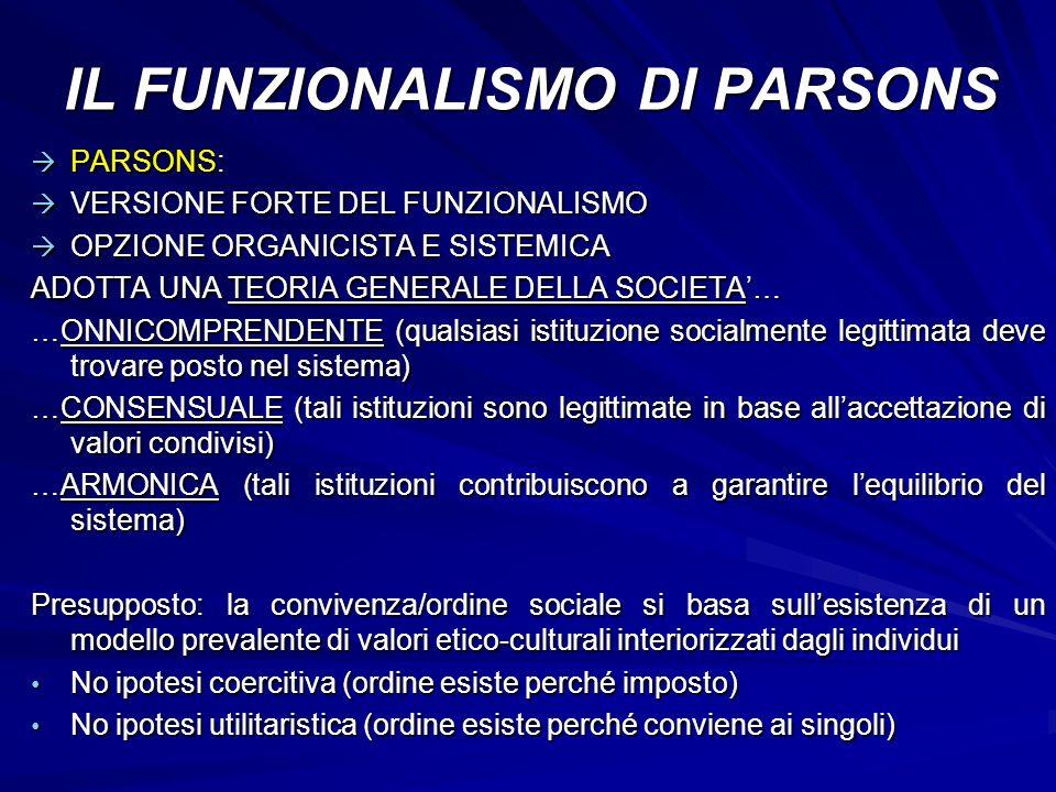 IL FUNZIONALISMO DI PARSONS