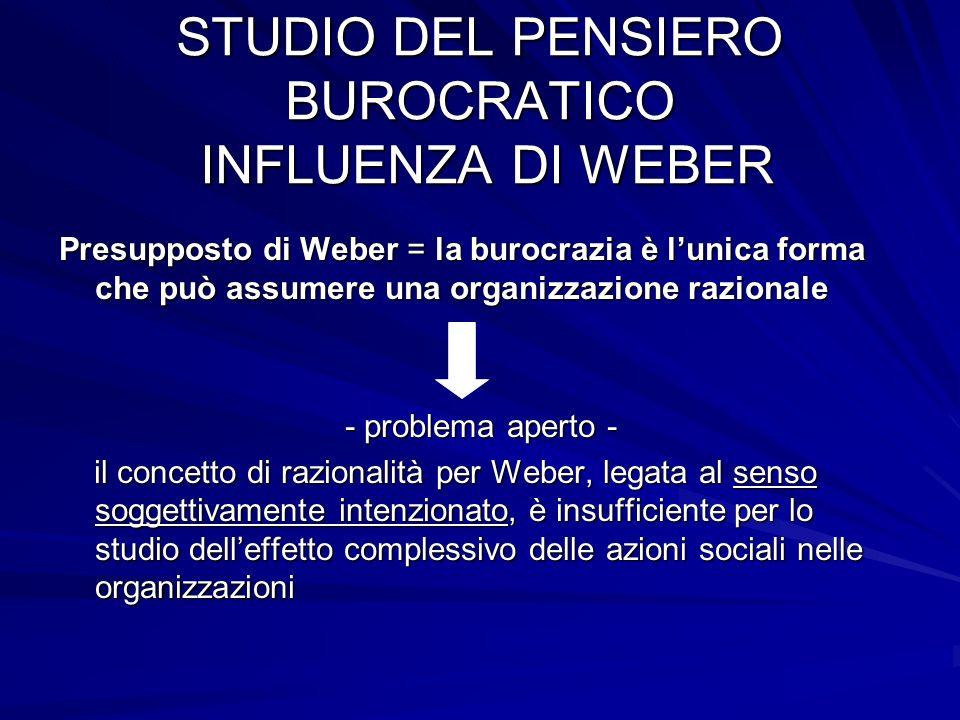 STUDIO DEL PENSIERO BUROCRATICO INFLUENZA DI WEBER
