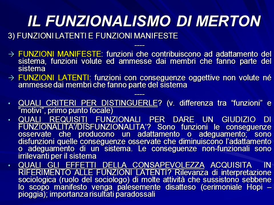 IL FUNZIONALISMO DI MERTON