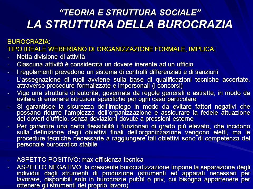TEORIA E STRUTTURA SOCIALE LA STRUTTURA DELLA BUROCRAZIA