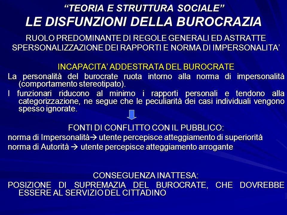 TEORIA E STRUTTURA SOCIALE LE DISFUNZIONI DELLA BUROCRAZIA