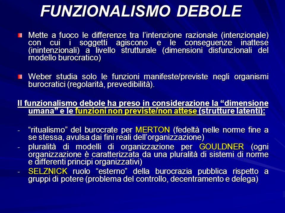 FUNZIONALISMO DEBOLE