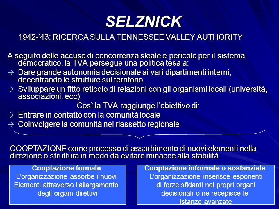 SELZNICK 1942-'43: RICERCA SULLA TENNESSEE VALLEY AUTHORITY