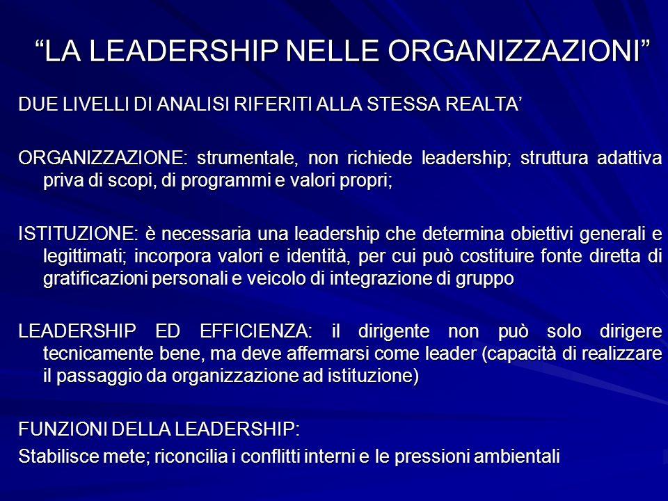 LA LEADERSHIP NELLE ORGANIZZAZIONI