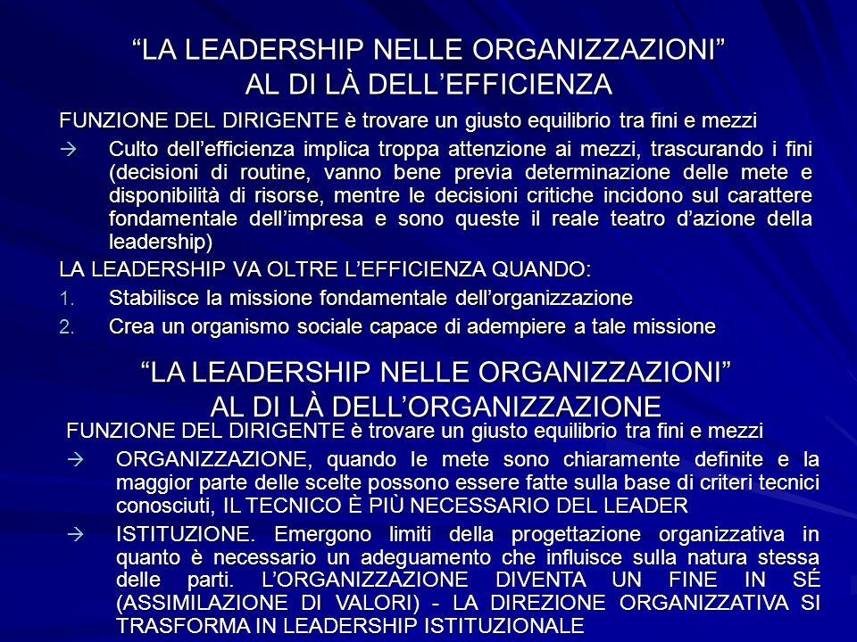 LA LEADERSHIP NELLE ORGANIZZAZIONI AL DI LÀ DELL'EFFICIENZA