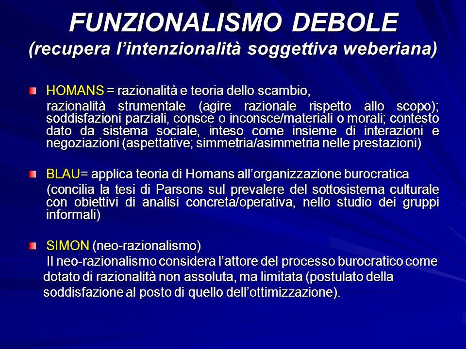FUNZIONALISMO DEBOLE (recupera l'intenzionalità soggettiva weberiana)