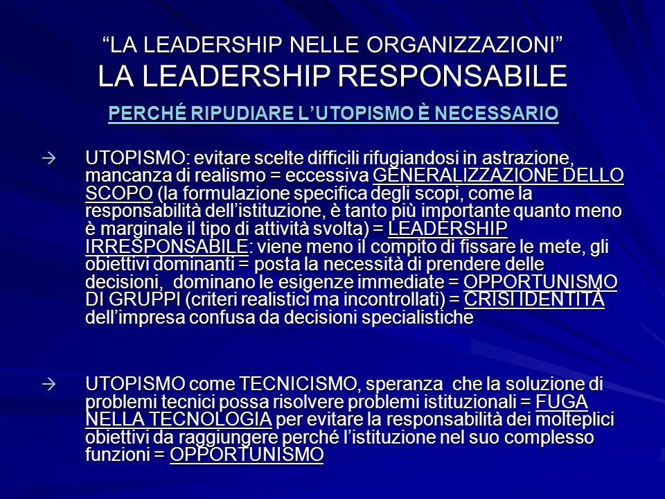 LA LEADERSHIP NELLE ORGANIZZAZIONI LA LEADERSHIP RESPONSABILE