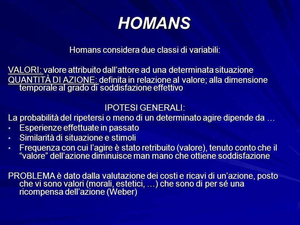 Homans considera due classi di variabili: