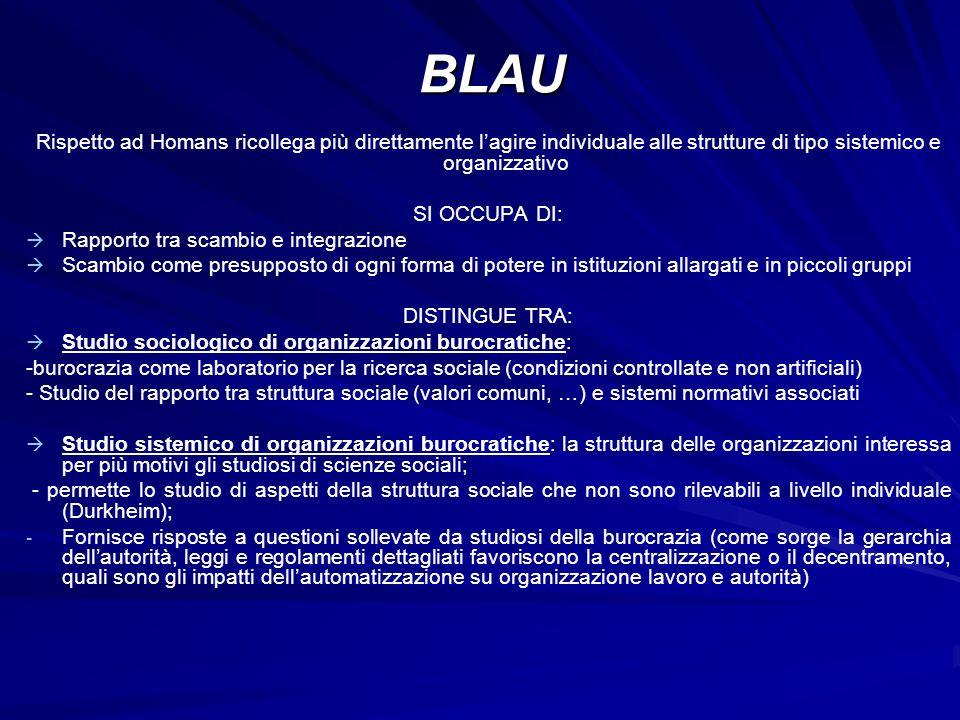 BLAU Rispetto ad Homans ricollega più direttamente l'agire individuale alle strutture di tipo sistemico e organizzativo.