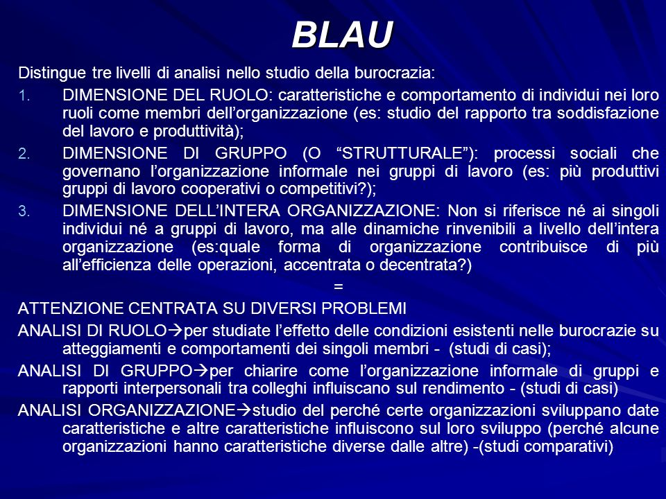 BLAU Distingue tre livelli di analisi nello studio della burocrazia: