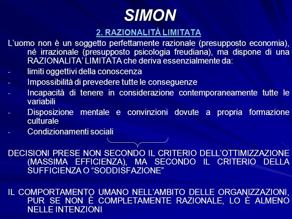 SIMON 2. RAZIONALITÀ LIMITATA