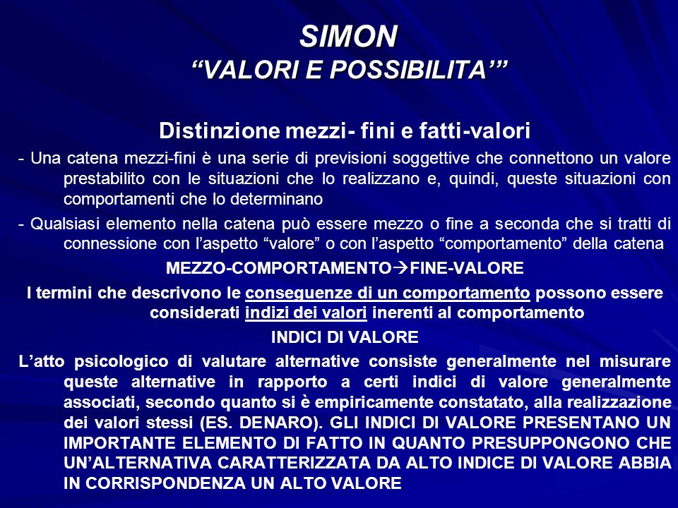 SIMON VALORI E POSSIBILITA'