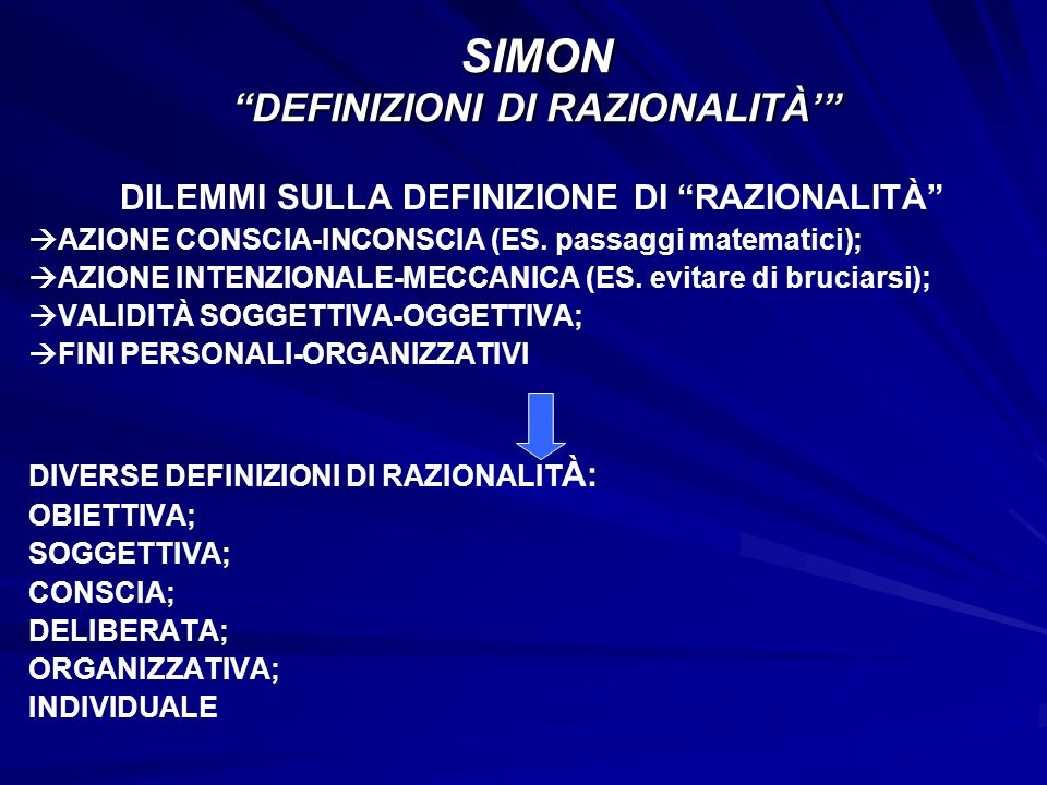 SIMON DEFINIZIONI DI RAZIONALITÀ'