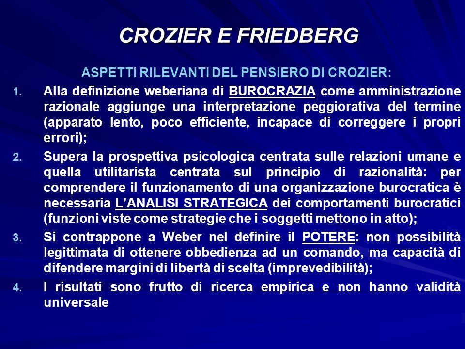 ASPETTI RILEVANTI DEL PENSIERO DI CROZIER: