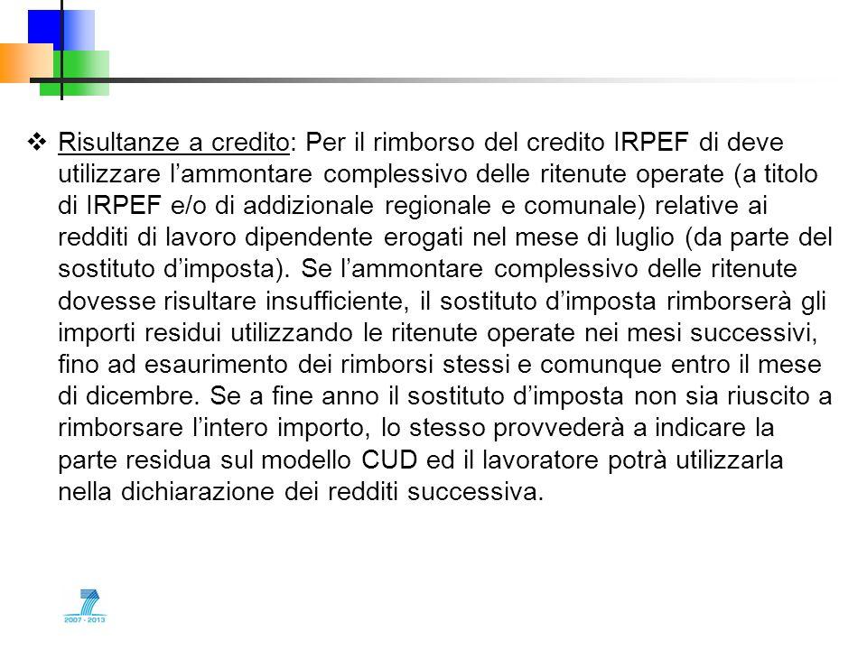 Risultanze a credito: Per il rimborso del credito IRPEF di deve utilizzare l'ammontare complessivo delle ritenute operate (a titolo di IRPEF e/o di addizionale regionale e comunale) relative ai redditi di lavoro dipendente erogati nel mese di luglio (da parte del sostituto d'imposta).