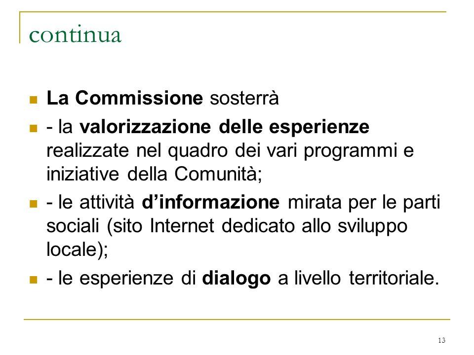 continua La Commissione sosterrà