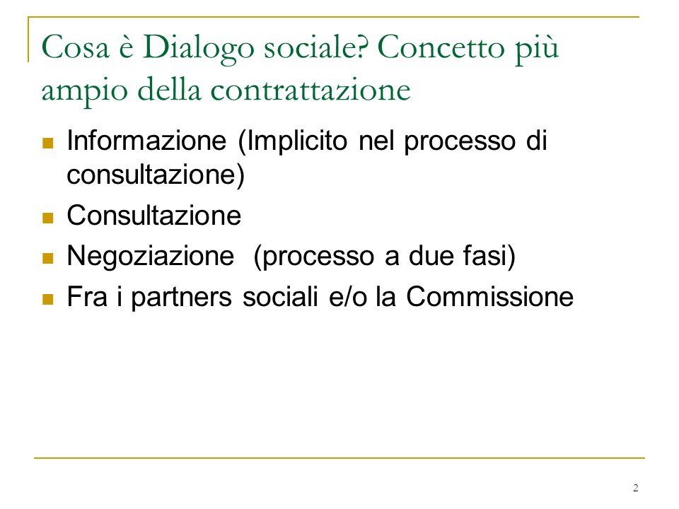 Cosa è Dialogo sociale Concetto più ampio della contrattazione