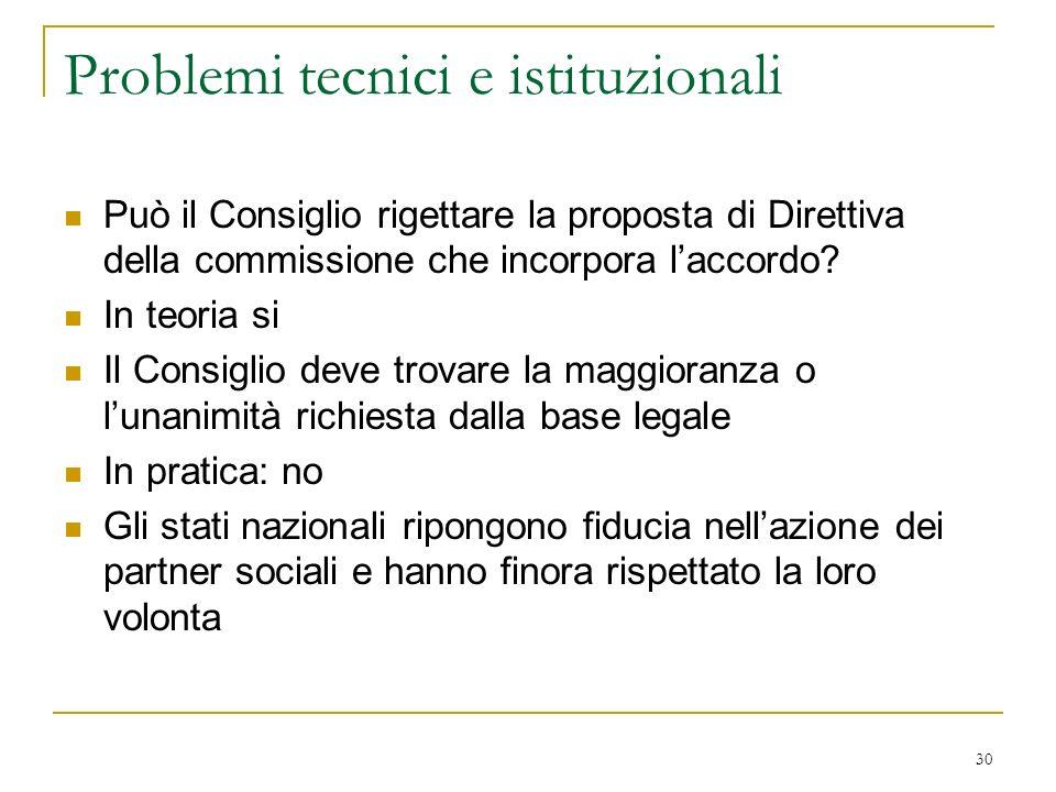 Problemi tecnici e istituzionali
