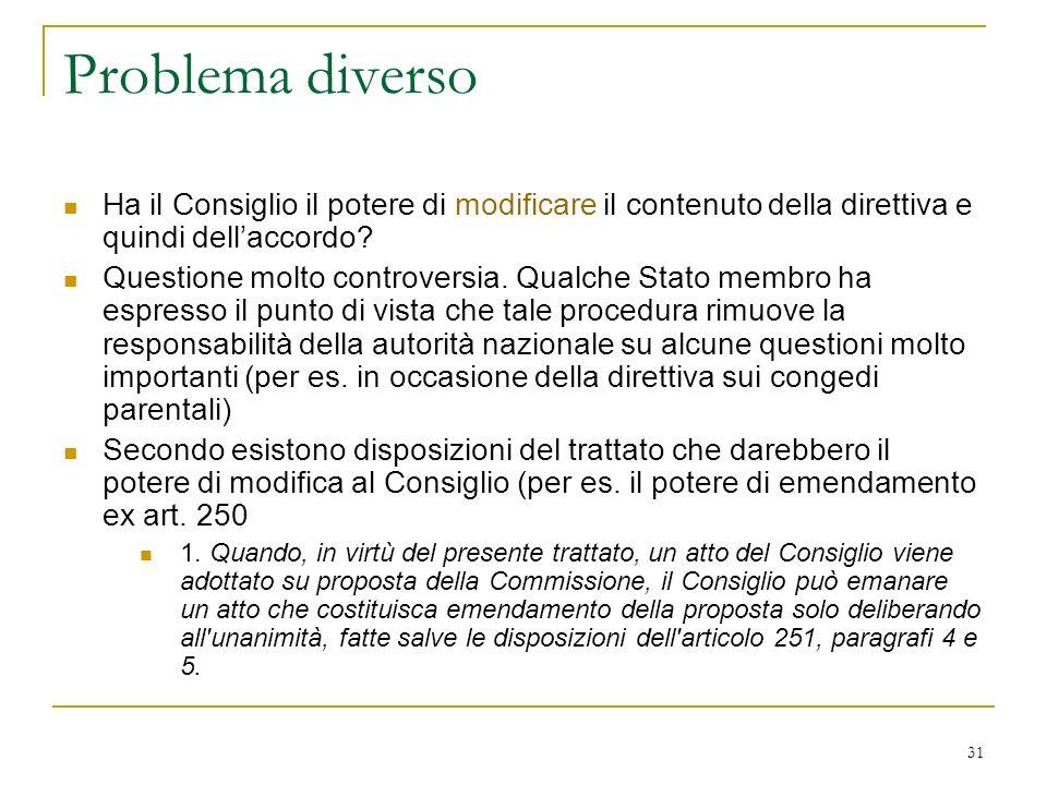 Problema diverso Ha il Consiglio il potere di modificare il contenuto della direttiva e quindi dell'accordo
