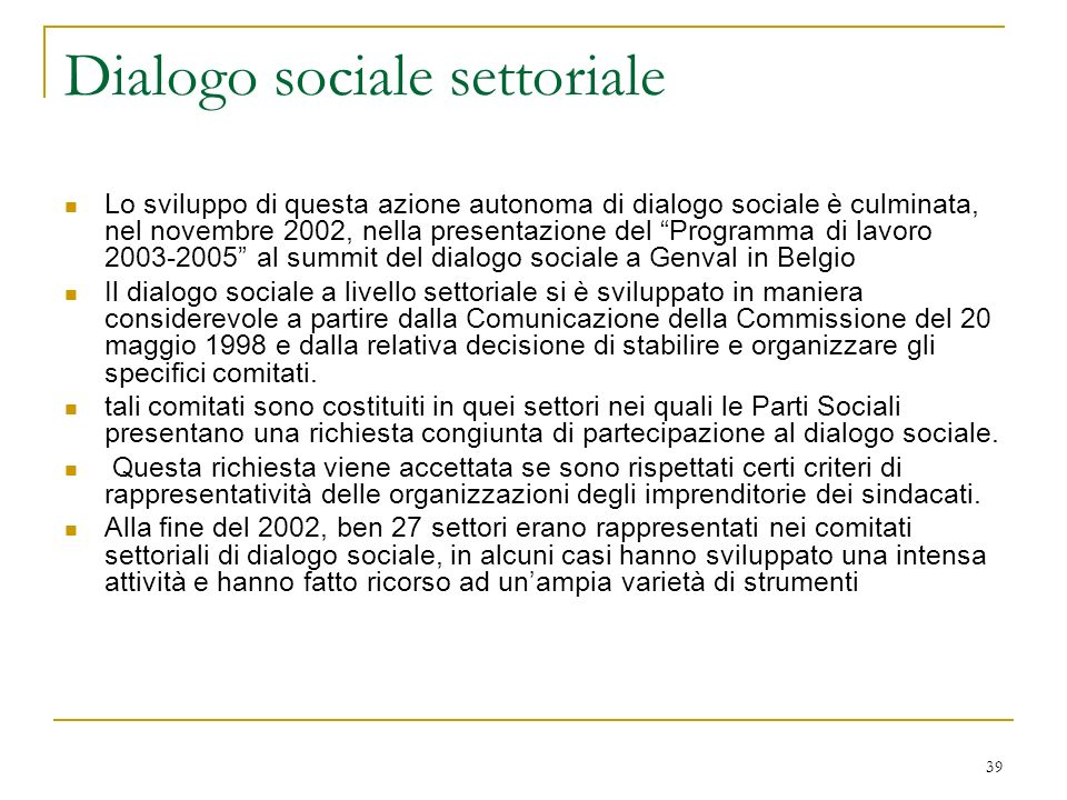 Dialogo sociale settoriale