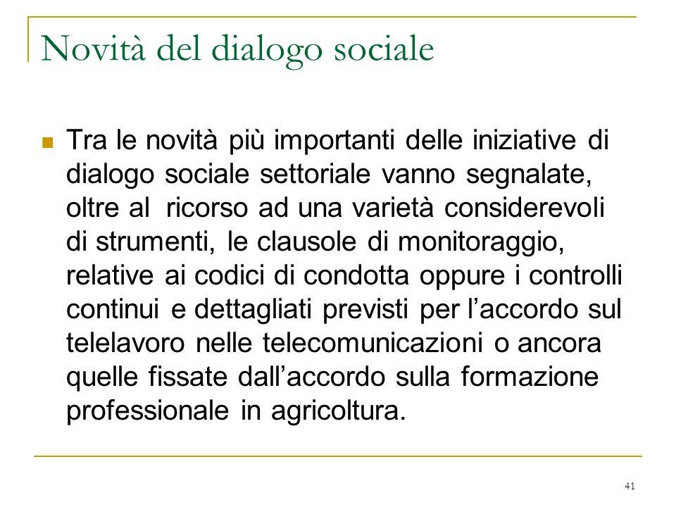 Novità del dialogo sociale