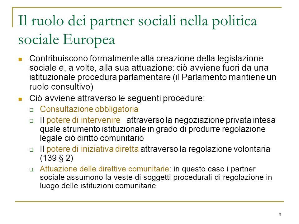Il ruolo dei partner sociali nella politica sociale Europea