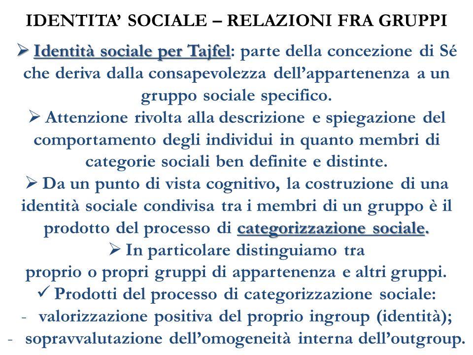 IDENTITA' SOCIALE – RELAZIONI FRA GRUPPI