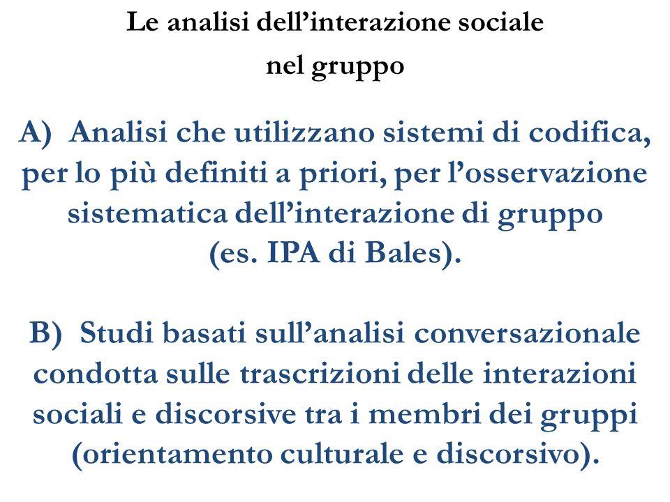Le analisi dell'interazione sociale nel gruppo