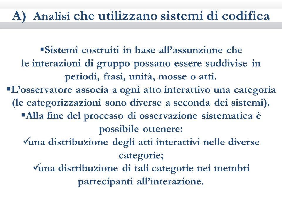 A) Analisi che utilizzano sistemi di codifica