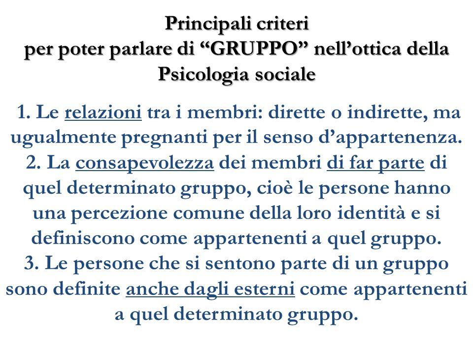 Principali criteri per poter parlare di GRUPPO nell'ottica della Psicologia sociale