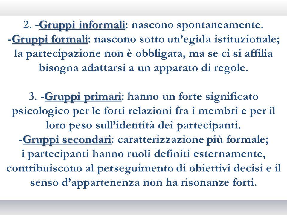2. -Gruppi informali: nascono spontaneamente.