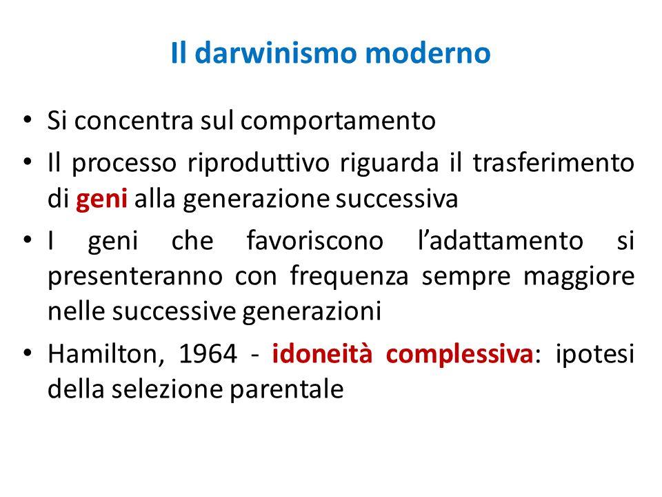 Il darwinismo moderno Si concentra sul comportamento