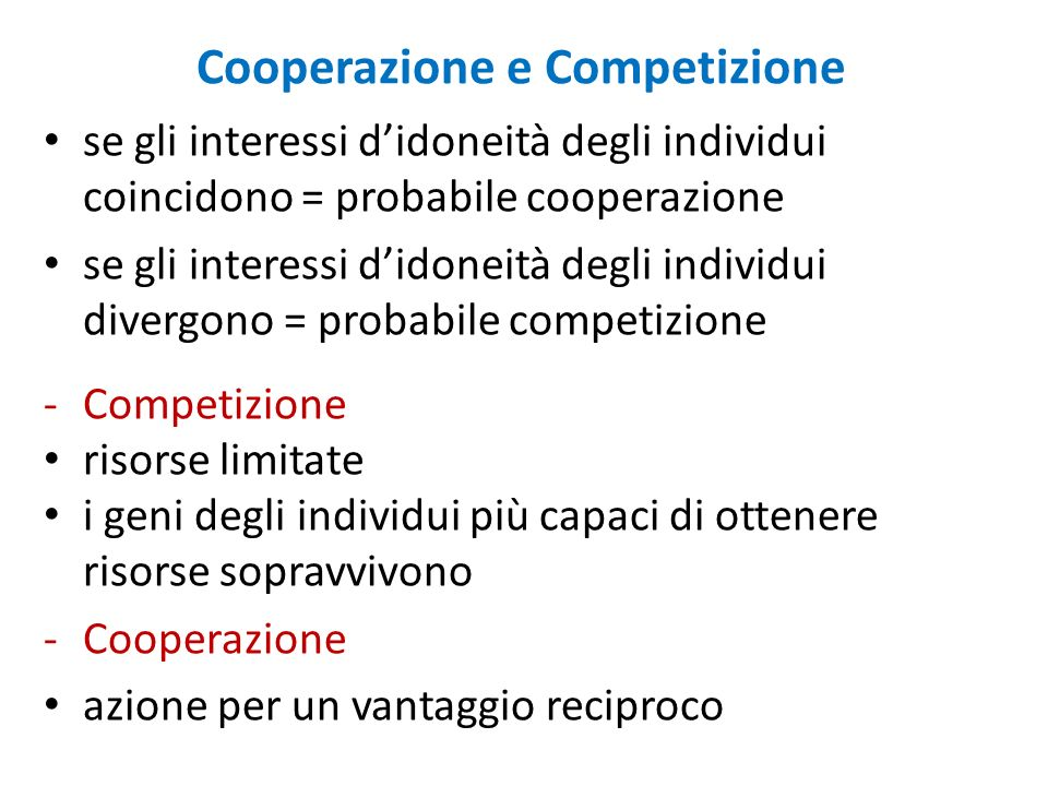 Cooperazione e Competizione