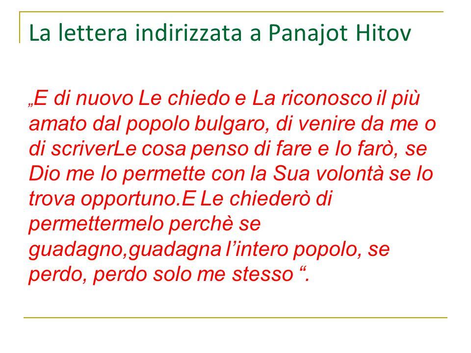 La lettera indirizzata a Panajot Hitov