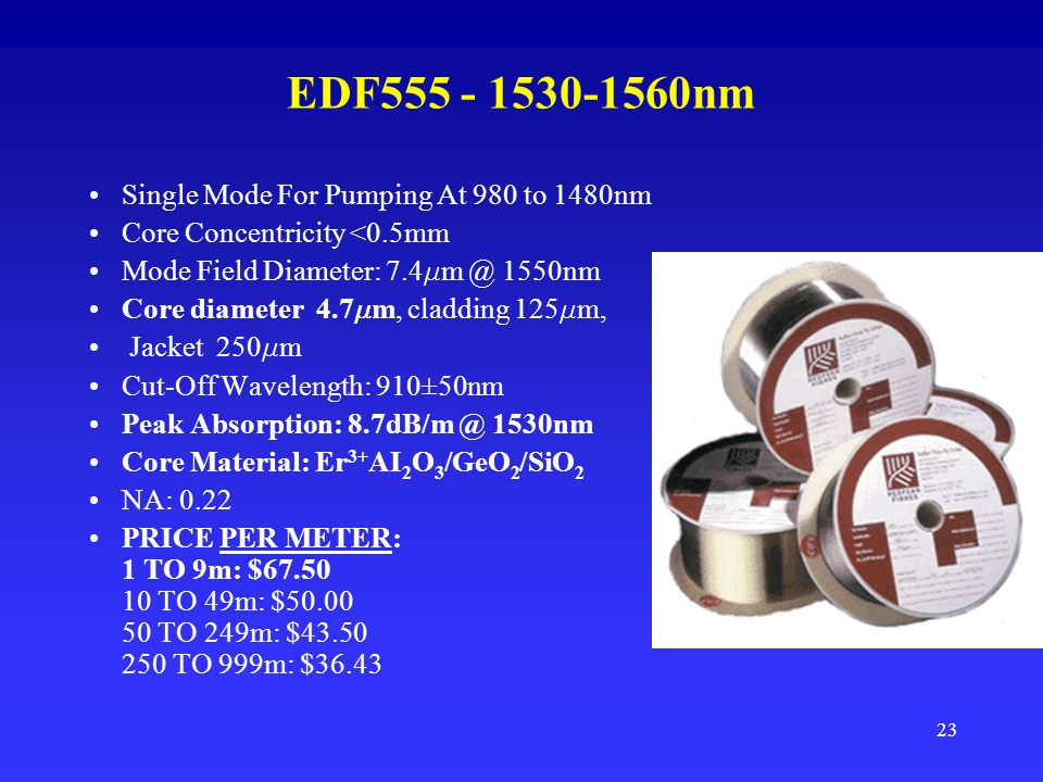 EDF555 - 1530-1560nm Single Mode For Pumping At 980 to 1480nm