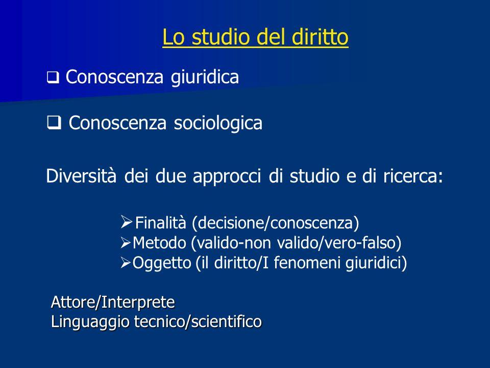 Lo studio del diritto Conoscenza sociologica