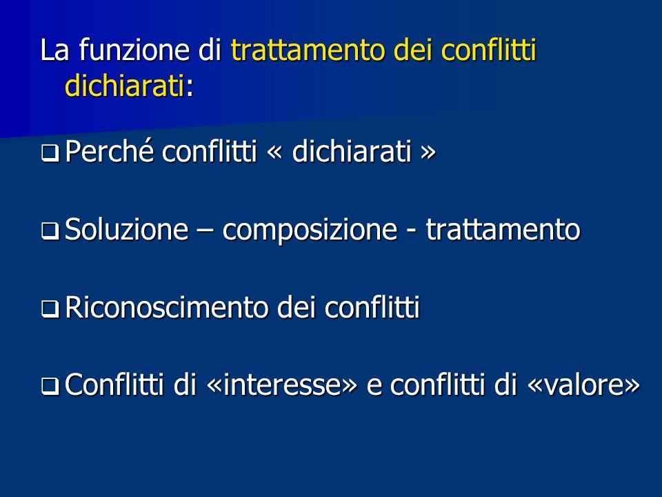 La funzione di trattamento dei conflitti dichiarati: