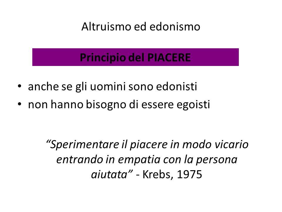 Altruismo ed edonismo Principio del PIACERE. anche se gli uomini sono edonisti. non hanno bisogno di essere egoisti.