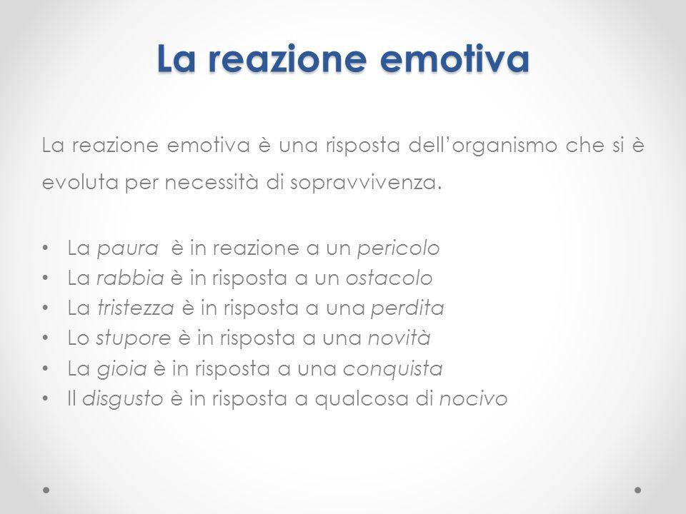 La reazione emotiva La reazione emotiva è una risposta dell'organismo che si è evoluta per necessità di sopravvivenza.