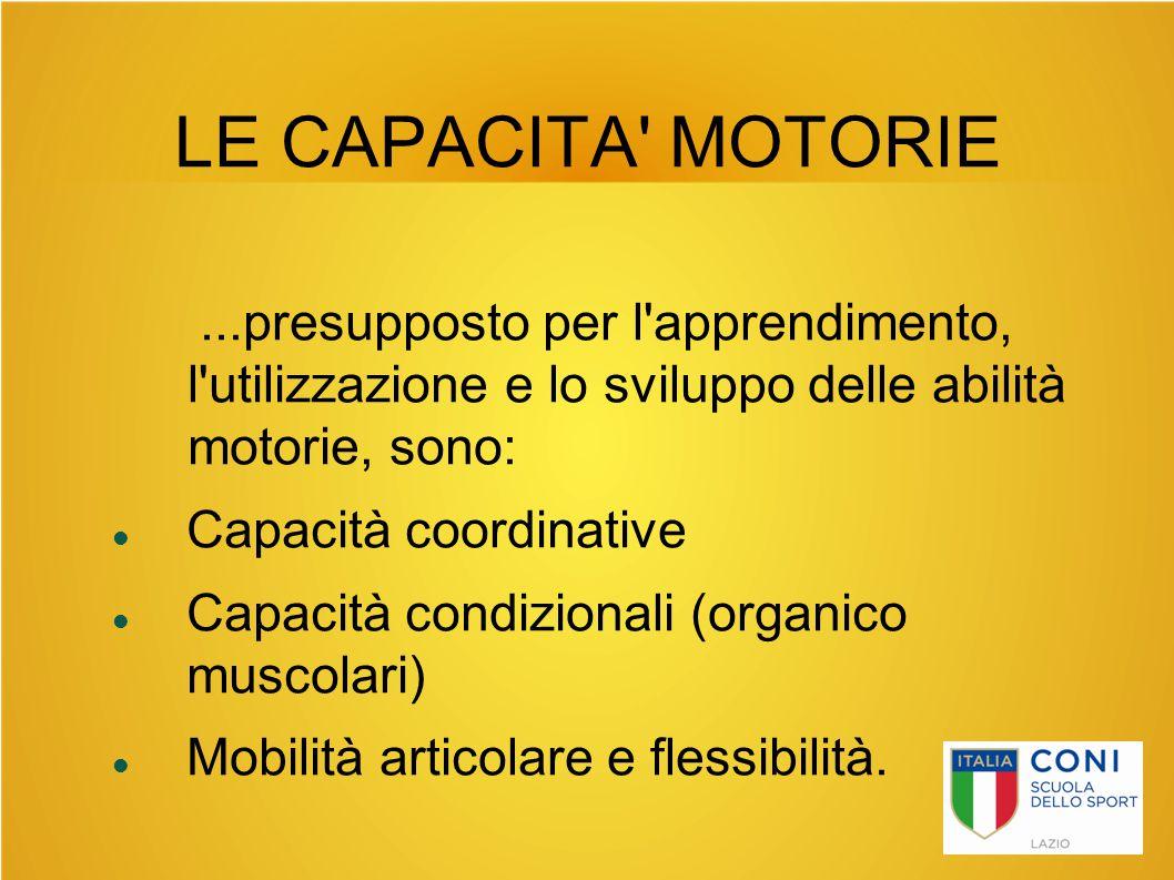 LE CAPACITA MOTORIE ...presupposto per l apprendimento, l utilizzazione e lo sviluppo delle abilità motorie, sono: