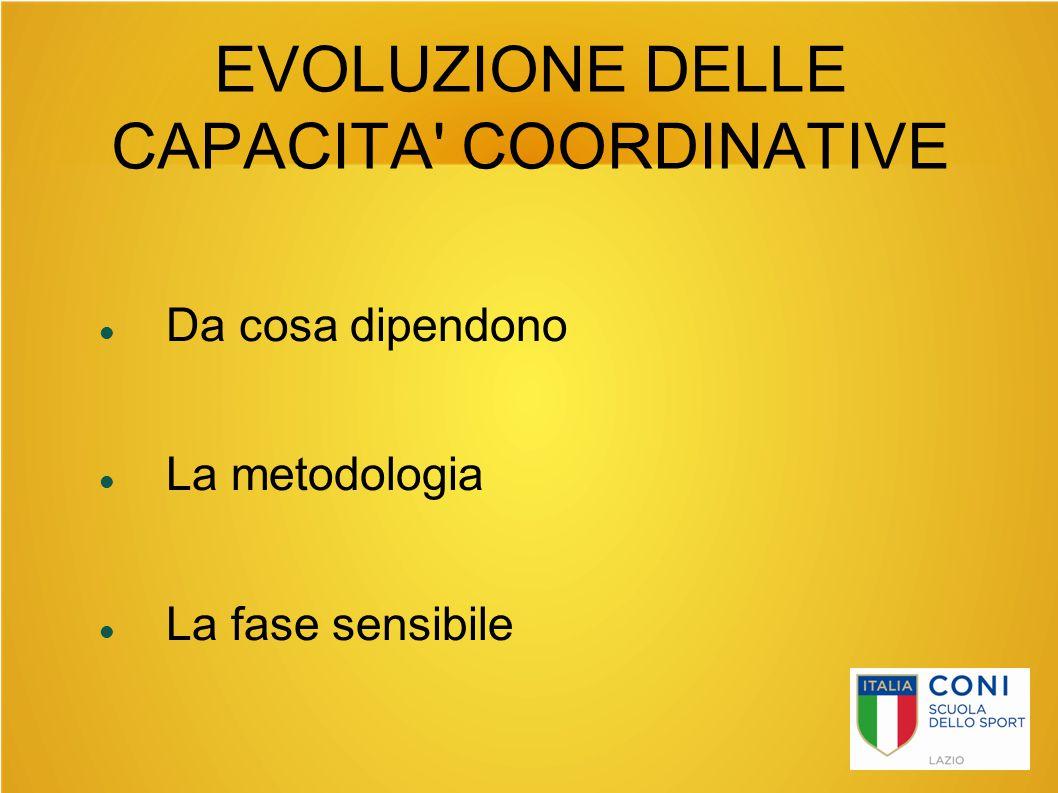 EVOLUZIONE DELLE CAPACITA COORDINATIVE
