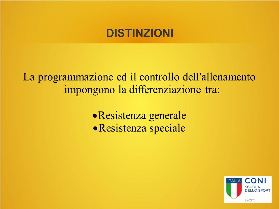 La programmazione ed il controllo dell allenamento impongono la differenziazione tra: