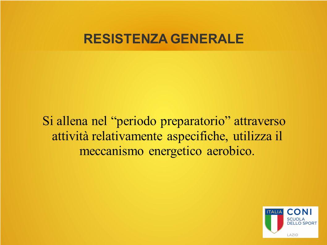 Si allena nel periodo preparatorio attraverso attività relativamente aspecifiche, utilizza il meccanismo energetico aerobico.